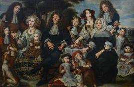 Bernaerdts Ph., the portrait of an important and well-off family, inscribed and dated 'Fecit 1679',