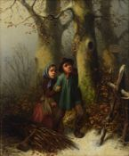 "Mar""hn F., poor children gathering wood in winter, oil on panel, 25 x 31 cm"