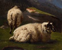 (Verboeckhoven E.) and Jones R., sheep in a mountainous landscape, oil on canvas, 39,5 x 56,5 cm