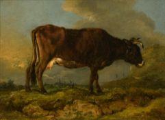 Legillon J.F., a grazing cow, dated 1785, oil on canvas, 21,5 x 28,5 cm