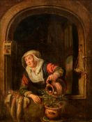 Unsigned (in the manner of Gerrit Dou),ÿthe maid watering the plant near the window, 17thC, the Nort
