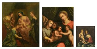 Unsigned, three religious works depicting two scenes with the Madonna holding the Holy Child (in whi