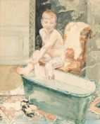 No visible signature, attributed to Cluysenaar A., a boy in the bathtub, pencil and watercolour on p
