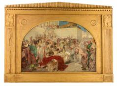 """Seuffert R., 'Marc Antonius an der Leiche Julius C""""sars', dated (19)06 (?), oil on canvas in a gilt"""