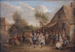 No visible signature, 'The Peasant Wedding', in the manner of David II Teniers, 18thC, oil on an oak