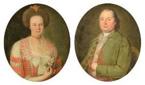 Nicodemo J.P., the medallion portraits of a noble couple, with inscription and dated 1785, 63 x 74,5