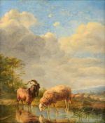 Ommeganck B., the shepherd and his resting flock near the pond, oil on an oak panel, 36 x 40,5 cm