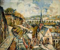 Verbrugghe Ch., a view on the pont d'Avignon, dated (19)35, oil on triplex, 38 x 46,5 cm, Is possibl