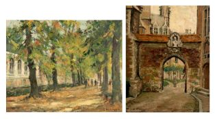 Verbrugghe Ch., a view on the gate at Gruuthuse in Bruges, oil on triplex, 36 x 46 cm. Added: Verbru