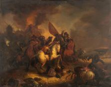 No visible signature, the heat of the battle, 19thC, oil on panel, 62 x 79 cm
