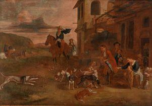 Hunters near the inn, 18thC, 58 x 82 cm
