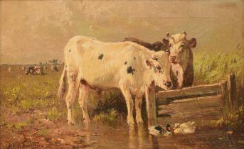 Henri Schouten (c.1857-1927), cows near the pond, 33,5 x 53,5 cm