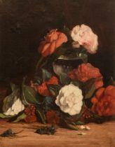 Indistinctly signed, a flower still life, 1884, 33 x 40 cm
