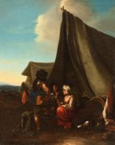 Johannes Lingelbach (1622-1674), encampment, 17thC, 40 x 50 cm