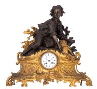 A Napoleon III gilt and patinated bronze mantle clock, H 53 - W 55 cm