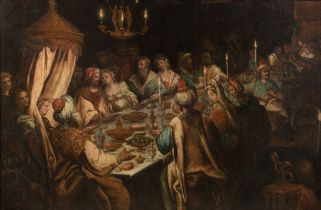 Follower of Frederik van Valckenborch, 'The feast of King Belshazzar', 99 x 149 cm