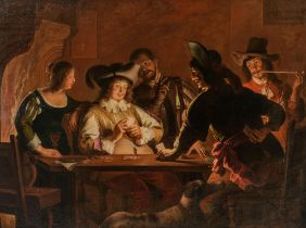 Circle of Gerard van Honthorst, the card play cheaters, 17thC, 163 x 223 cm
