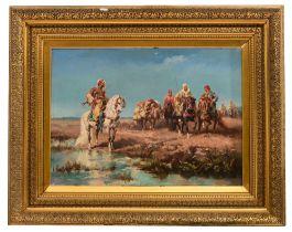 Schreyer J. M., Moorish horseman in a landscape, oil on a mahogany panel, 51 x 72 cm