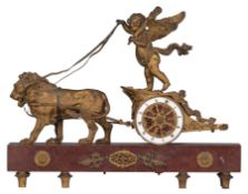 An Empire style mantle clock, with on top Cupid's chariot, H 34 - W 44 cm