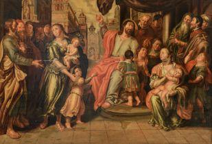 Let the children come to me, Antwerp School, 17thC, 74 x 105 cm