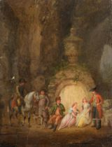 A company resting in the park, late 18thC, 12,5 x 16,3 cm
