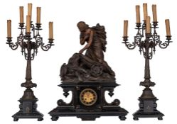 A Napoleon III three-piece mantle set, H 69,5 - 82,5 cm - W 56 cm