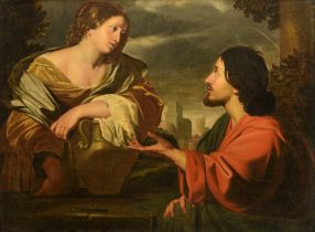 Peter van Lint (1609-1690), Christ and the woman of Samaria at the well, 17thC, 99 x 133 cm