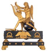 A fine Empire style mantle clock, with on top Apollo playing the lyre, H 50 - W 46 cm