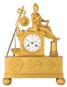 A fine French Charles X ormolu mantle clock, 'Mathey, à Strasbourg', H 35,5 - W 27 cm