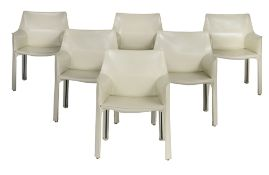 A set of six CAB beige leather armchairs, by Mario Bellini for Cassina, H 80 - W 60 cm
