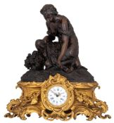 An imposing gilt and patinated bronze Rococo style mantle clock, signed Schoenewerk, H 60 - W 57 cm