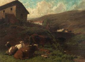 A mountainous and bucolic landscape, 18thC, 25,5 x 34,5 cm