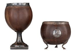 Two Anglo-Indian coconut cups with silver mounts, H 11,5 - 19,5 cm