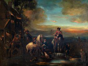Jean Vasserot (?) (1769-?), travellers near the inn, dated 1780, 66,5 x 86,5 cm