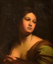 (Circle of) Carlo Maratta (1625-1713), portrait of a female artist, 50 x 64 cm