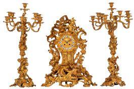 A very imposing Rococo style gilt bronze three-piece mantle clock set, H 62,5 - 72,5 cm