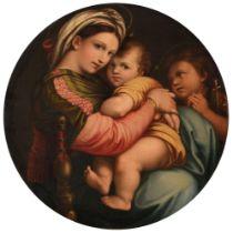 A copy of the 'Madonna della seggiola' by Raphael, 80 x 80 cm
