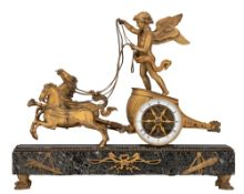 A Neoclassical mantle clock with Cupid's chariot, H 46 - W 37 cm