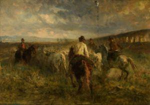 Otto Karl Kasimir von Thoren, herding the cows, 19thC, 32 x 46 cm