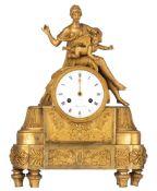 A French Restauration gilt bronze mantle clock, marked 'Bekerr à Paris', H 33 - W 43,5 cm