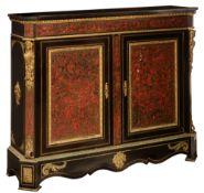 A Napoleon III Boulle work two doors dresser, H 114,5 - W 149 - D 43 cm
