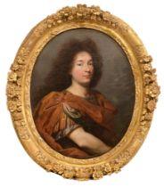 A fine oval portrait of a heroic gentleman, late 17thC, 58 x 72 cm