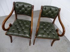 Pair of scroll open arm leather chairs - 2 late 20 th C Regency style sabre leg green leather button