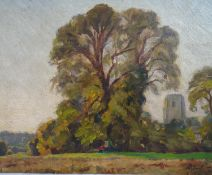 J Neal (1918-2011) ARCA ( RA) Oil on panel Edge of the churchyard Signed lower right and again verso