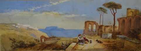 Florence Laing ( XIX-XX) Watercolour and gouache Female figures sat in old Italian ruins beside