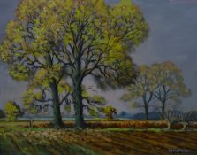 John Revell (XX) Oil on board ?Autumn Elms near Leverstock Green ? Signed lower right and titled ,