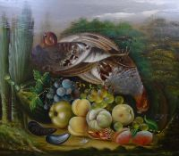 XVII English School Oil on field oak panel Still life of English Grey Partridges and quinces ,