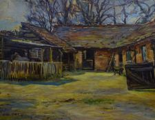 Nancy Weir Huntly (1895-?) Oil on canvas A horse in an open stable within an old stable block Signed