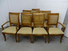 A long set of 8 dining / single chairs - a set of 2+6 Continental chairs with caned backs and