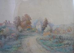 James Allen Shuffrey (1859-1939) Watercolour A Cotswold village Signed lower left 9 3/4 (24.8 cm)